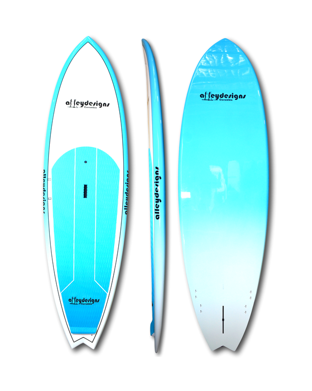 Alley Designs Surf SUP for sale | 10ft x 32in Teal & White